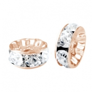 Rhinestone crystal rondelle 6mm Rose gold-crystal