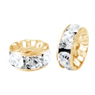 Rhinestone crystal rondelle 10mm Gold-crystal