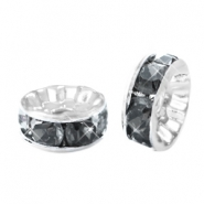 Rhinestone crystal rondelle 6mm Silver-antracite