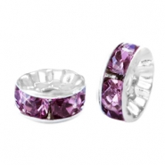Rhinestone crystal rondelle 10mm Silver-light aubergine purple