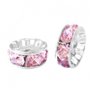 Rhinestone crystal rondelle 8mm Silver-pink