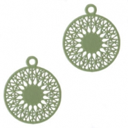 Round bohemian pendants with eye 18mm Pastel army green