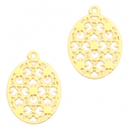 Oval Bohemian pendants with eye 15mm Gold