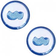 Basic Delft blue cabochon 20mm wooden shoes White-blue