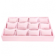 Jewellery display 12 compartments with pillows Light pink