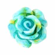 Rose beads 10mm Turquoise-yellow