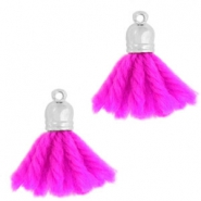 Ibiza style tassels with end cap Silver-bright purple