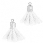 Ibiza style tassels with end cap Silver-white