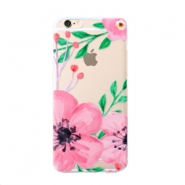 Trendy phone cases for Iphone7 Plus flower Transparent-pink green