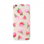 Trendy phone cases for Iphone 6 Plus icecream & fruit Transparent-pink green