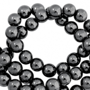 Round hematite beads 4mm  Anthracite grey