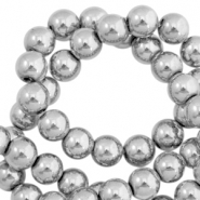 Round hematite beads 4mm  Light grey