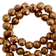 Round hematite beads 4mm faceted cut Rose gold