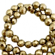 Round hematite beads 6mm faceted cut Antique gold