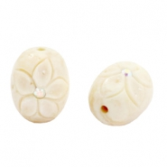 DQ acrylic carved oval Polaris beads Beige