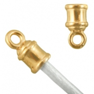 DQ metal end cap (for 2mm leather) Gold (nickel free)