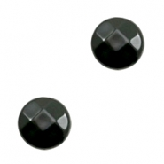 Flat DQ acrylic beads 14mm round faceted Black