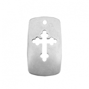 TQ metal charms shield with cross Antique silver