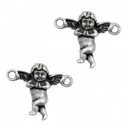 TQ metal charms angel connector Antique silver