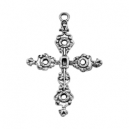 TQ metal charms brocante cross Antique silver