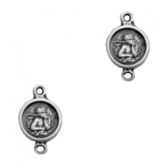 TQ metal charms connector round angel Antique silver