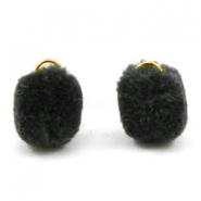 Pompom charm with eye gold 15mm Anthracite black