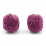 Pompom charm with eye silver 15mm Heather purple