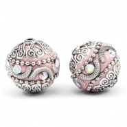 Bohemian beads 20mm Light pink-silver