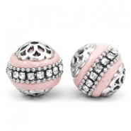 Bohemian beads 16mm Light pink-silver