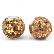Bohemian beads 14mm Gold-rose gold