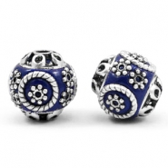 Bohemian beads 14mm Cobalt blue-silver