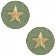 Wooden cabochon Star 12mm Dark Green