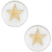 Wooden cabochon Star 12mm Silver