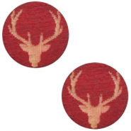 Wooden cabochon Reindeer 12mm Cherry Red