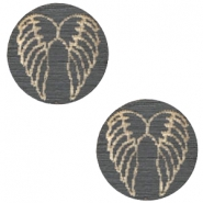 Wooden cabochon Angel Wings 12mm Dark Grey