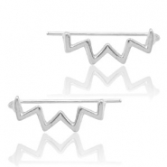 Trendy earrings earline zigzag Silver