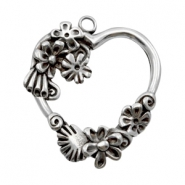 Charms TQ metal heart with flowers Antique Silver