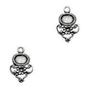 Charms TQ metal oval setting flower Antique Silver