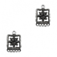 Charms TQ metal Boho square with 5 loops Antique Silver