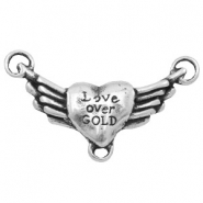 "Charms TQ metal connector heart wings ""love over gold"" Antique Silver"