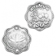 Charms TQ metal coin Antique Silver
