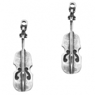 Charms TQ metal violin Antique Silver
