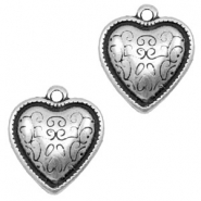 Charms TQ metal heart Baroque Antique Silver