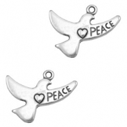 Charms TQ metal Bird ♥ Peace Antique Silver