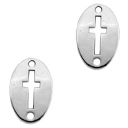 Charms TQ metal connector oval cross Antique Silver