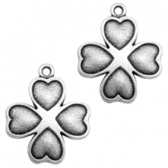 Charms TQ metal heart clover Antique Silver