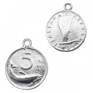 Charms TQ metal coin 5 Lira Repubblica Italiana Light Silver