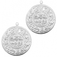 Charms TQ metal connector Oriental coin 30mm Light Silver