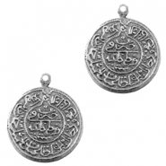 Charms TQ metal Oriental coin 20mm Antique Silver