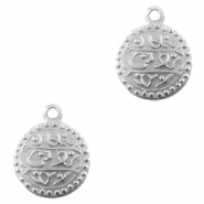 Charms TQ metal Oriental coin 13mm Antique Silver